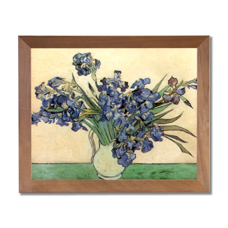 Purple Iris Picture (Vincent Van Gogh Irises In Vase Flower Wall Picture Honey Framed Art)
