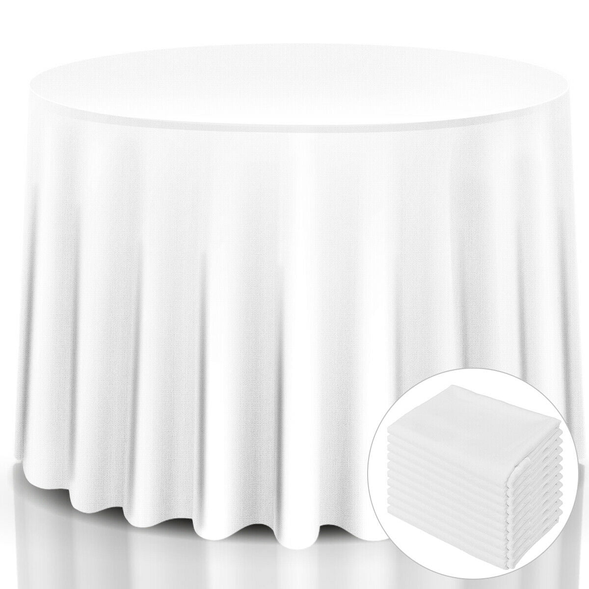 10 Pcs 120 Round Tablecloth Polyester, Round White Tablecloth