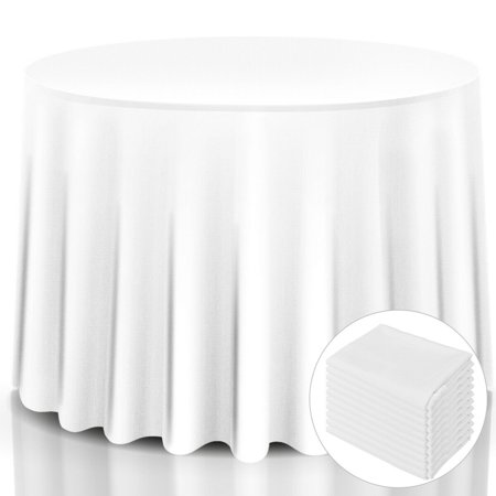 10 pcs 120'' Round Tablecloth Polyester For Home Wedding Restaurant Party White ()