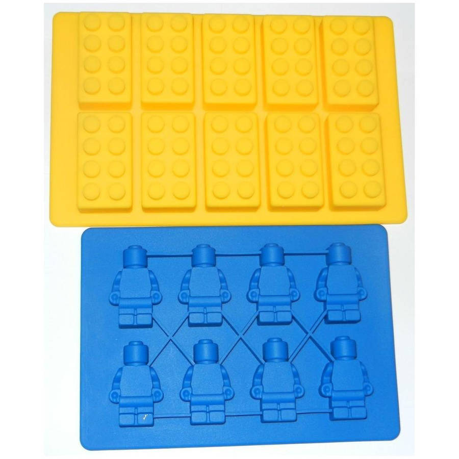 Building Brick & Multi-size Minifigure Ice Tray & Candy Mold Set