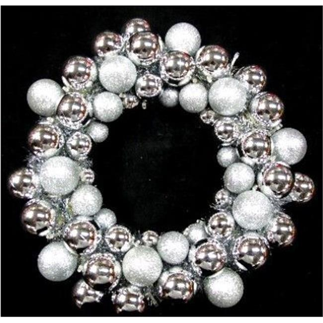 Queens of Christmas BAT-BWR-16-SLV-PW BAT-BWR-16-SLV-PW - 16'' Silver Ball Wreath with Battery Powered Pure White LEDs