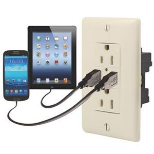 Diamond Group 61071USB Almond USB Charger/110V Dual Outlet Almond