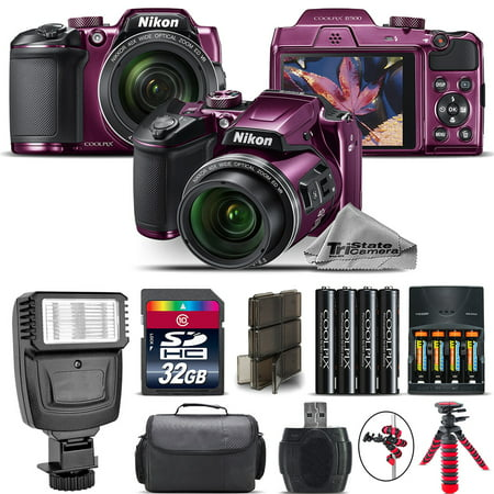 Nikon COOLPIX B500 Plum Camera 40x Optical Zoom + Flash + Case - 32GB Kit Bundle ()