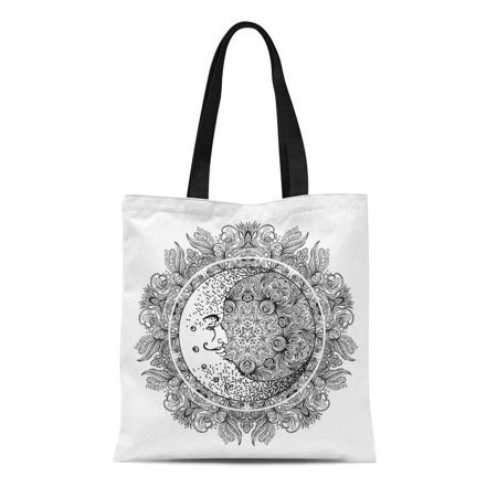 POGLIP Canvas Tote Bag Blackwork Tattoo Flash Crescent Moon Over Mandala White Coloring Reusable Shoulder Grocery Shopping Bags Handbag - image 1 de 1