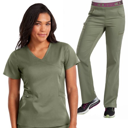Med Couture NEW TOUCH Women's Mock Wrap Scrub Top & Yoga 2 Cargo Pocket Pant Set [XS - 3XL, FREE SHIPPING]