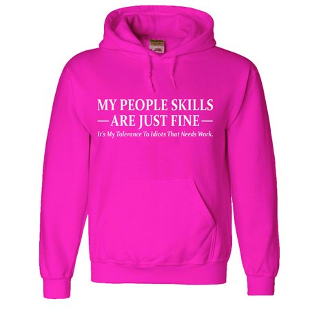Mens Hoodie Pink People Skills Funny Sweatshirt People Mens Sweatshirt