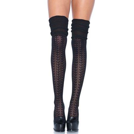 - Leg Avenue  Acrylic Pointelle Over-the-knee Scrunch Sock