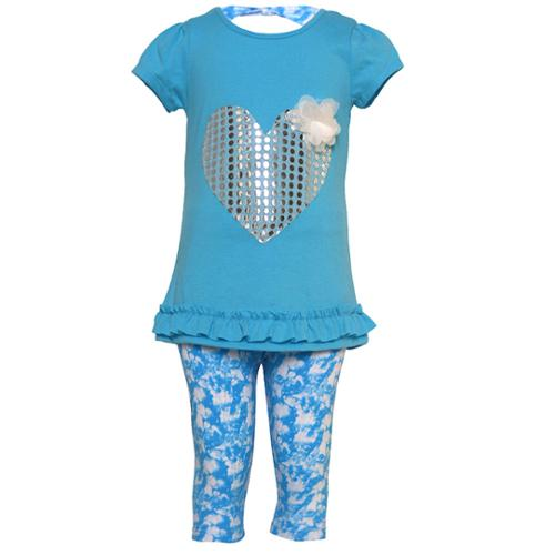 Ziggles Wiggles Little Girls Turquoise Shiny Dot Heart 2 Pc Legging Set 2T-6X