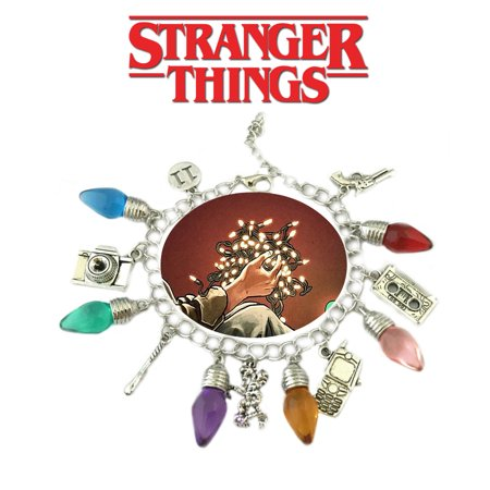 Stranger Things Eleven Lights and Charm Bracelet TV Show Series Jewelry Multi Charms - Wristlet - Superheroes Brand Netflix Collection - Netflix Halloween
