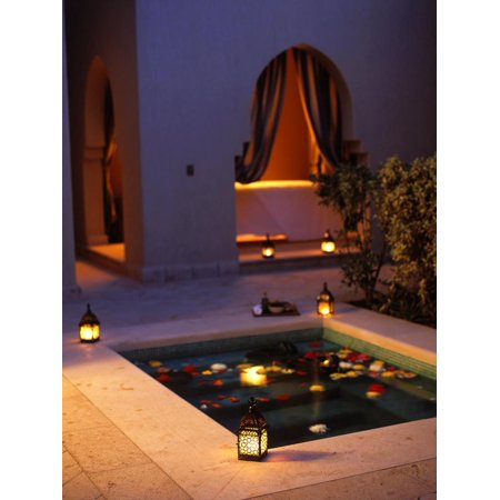 Four Seasons Resort Hotel, Plunge Pool in Private Outdoor Area of the Spa at Night Print Wall Art By John Warburton-lee