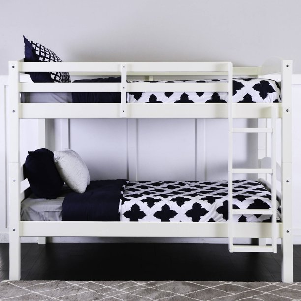 Walker Edison Solid Wood Twin Over Bunk Bed White Walmart Com