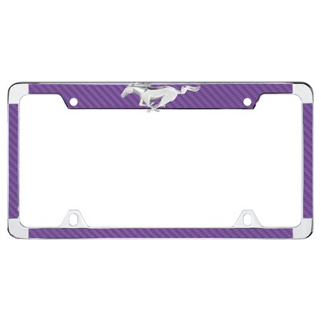 Ford 3D Pony Top Purple Simulated Carbon Fiber License Plate Frame (Carbon Fiber Top)