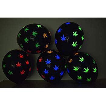 DirectGlow Black Latex 11 inch UV Blacklight Reactive Neon Weed Marijuana Pot Leaf Balloons (25) (Weed Leaf Neon)
