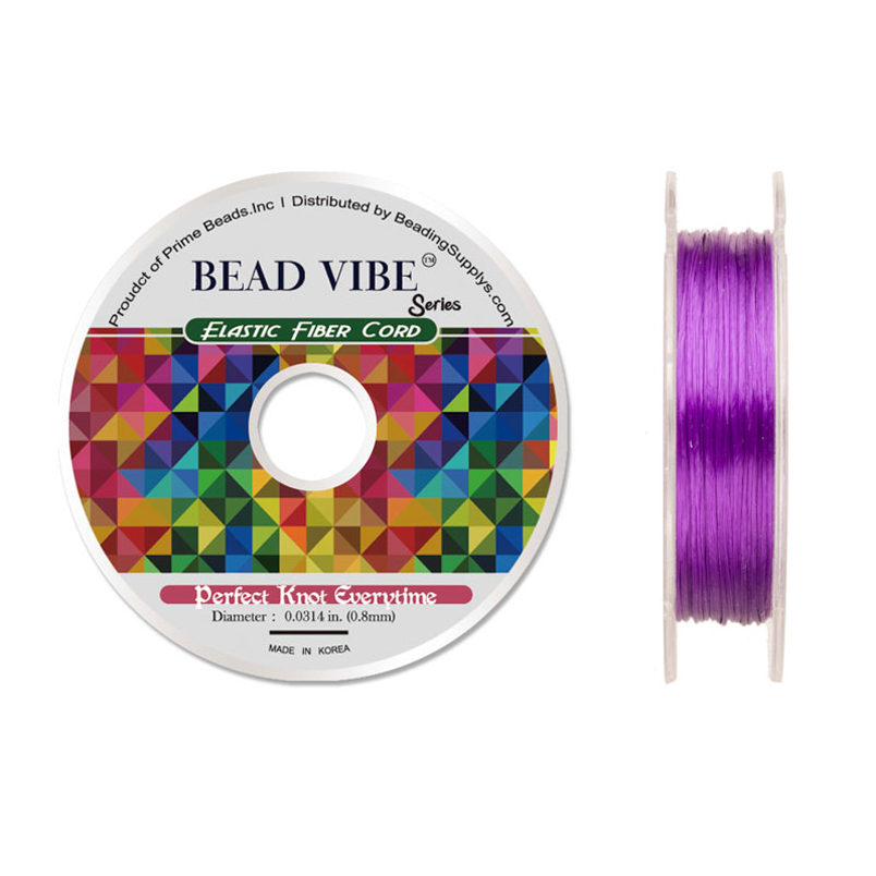 Elastic Fiber Cord, Beadvibe Series Elastic Fiber Cord, Purple 0.8mm Diameter 32ft