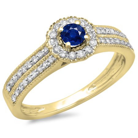 Dazzlingrock Collection 14K Round Blue Sapphire & White Diamond Bridal Halo Cluster Engagement Ring, Yellow Gold, Size 5.5 (Sapphire Cluster)