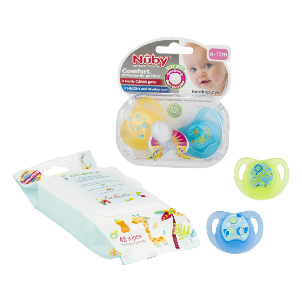 Nuby All Natural Pacifiers & Teether Wipes - 48 Count