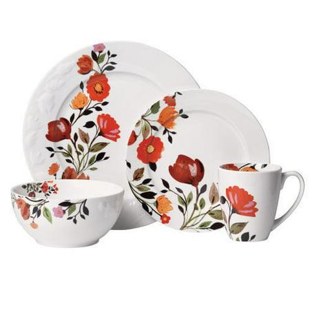 Mikasa Kim Parker Tulips 16 Pc Microwave Dishwasher Safe Dinnerware Set