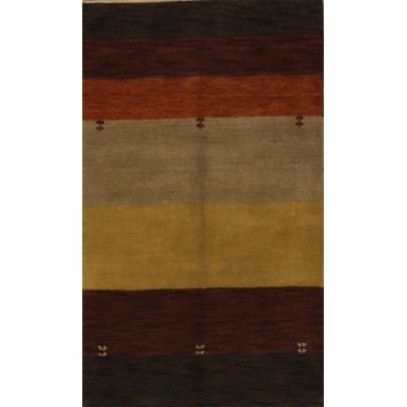 Hand Knotted Stripes (RugSource Striped Modern Gabbeh Oriental Hand Knotted 3x5 Wool Rug)