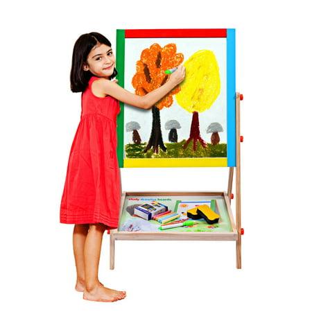 Costway Adjustable 2 In 1 Wooden Easel Chalk Drawing Board Black / White Children Kids