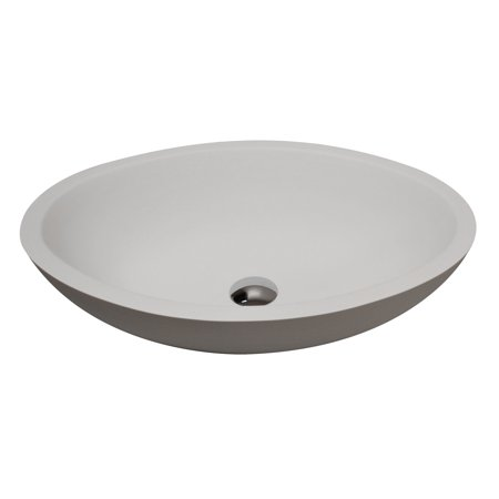 ANZZI Maine 1-piece Man Made Stone Vessel Sink With Pop Up Drain In Matte White - LS-AZ608 - Matte White Drain
