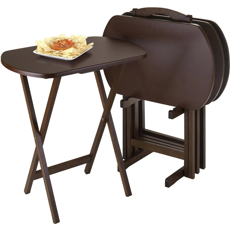 Winsome Wood Corbett 5pc Curved Rectangular Snack Tray Set, Walnut