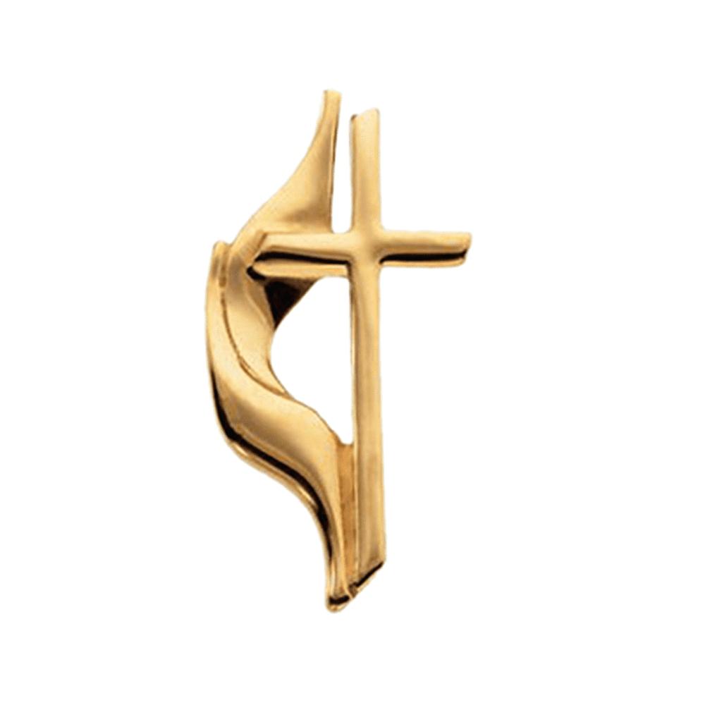 10K Yellow Gold Methodist Cross Pin Brooch by