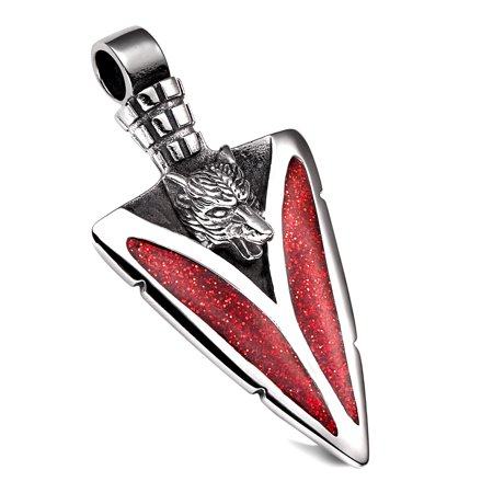 Arrowhead Howling Wolf Courage Powers Protection Amulet Charm Sparkling Royal Red