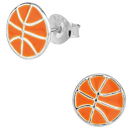 Hypoallergenic Sterling Silver Basketball Stud Earrings for Kids (Nickel Free) - Basketball Earrings