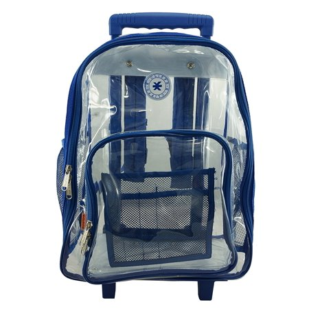 Rolling Clear Backpack Heavy Duty See Through Wheeled Daypack ...