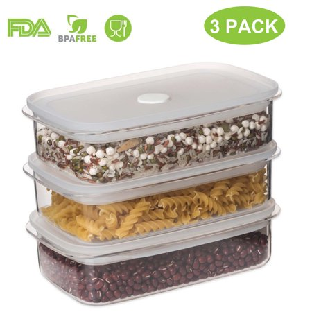 Leak Proof Containers - Food Storage Containers with Lids - Airtight Leak Proof Easy Snap Lock and BPA Free Clear Plastic Container Set for Kitchen Use