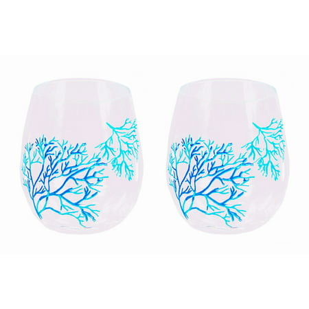 Set Of 2 Nautical Coral Stemless Acrylic Wine Glasses](Acrylic Stemless Wine Glasses)
