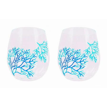 Set Of 2 Nautical Coral Stemless Acrylic Wine (Nautical Glasses)