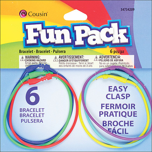 Cousin Fun Pack Easy Clasp Rubber Bracelets, 6/pkg, Multicolor