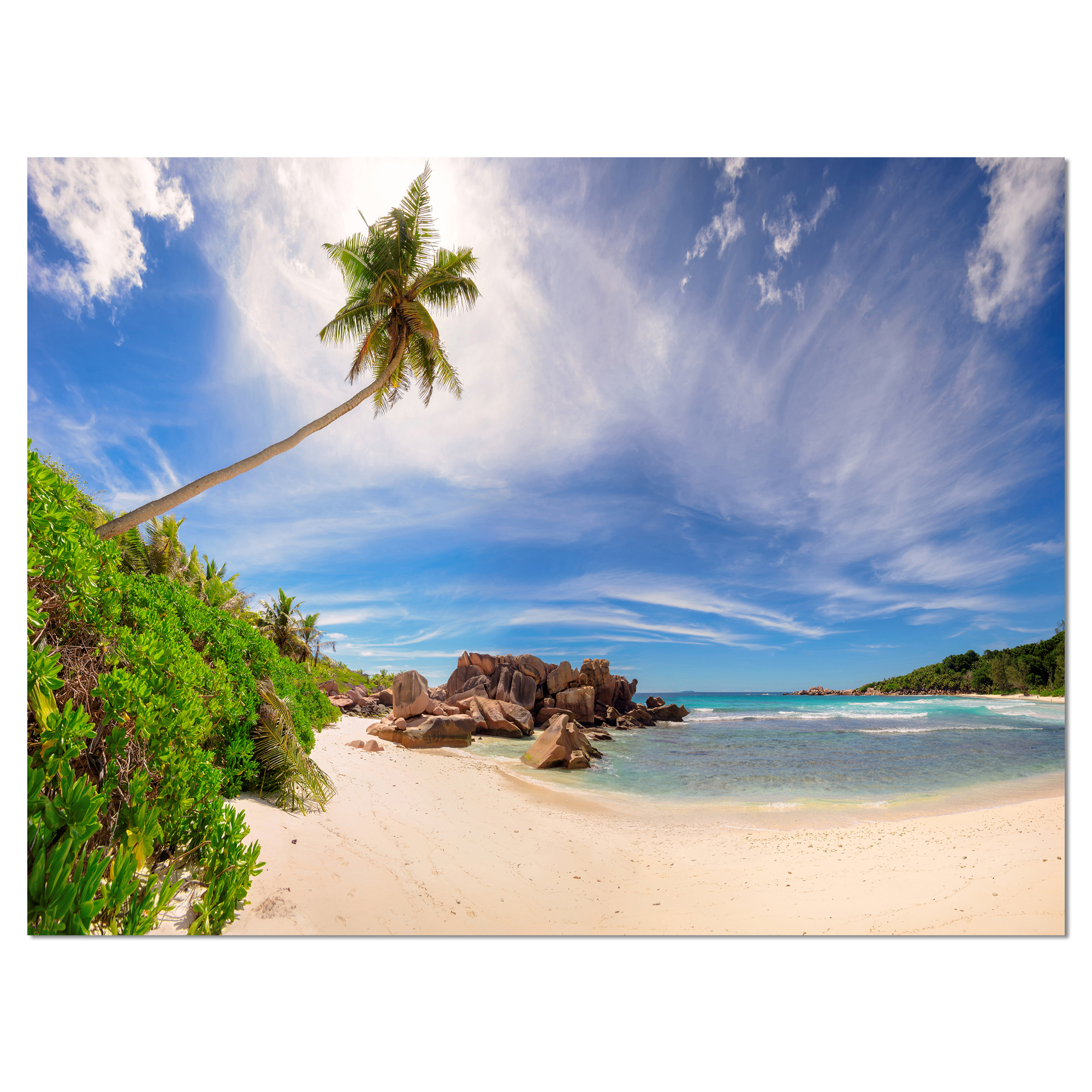 Beautiful Beach at La Digue Seychelles - Large Seashore Canvas Print - image 1 of 3