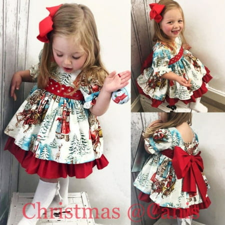 Christmas Toddler Kid Baby Girl XMAS Flared Party Santa Swing Dress Clothes 2-6T (Kid Collection Girls Dress)
