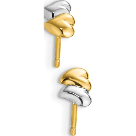 14k Yellow Gold w/Rhodium with Rhodium Polished Heart Post (6x4mm) Earrings - image 2 of 3