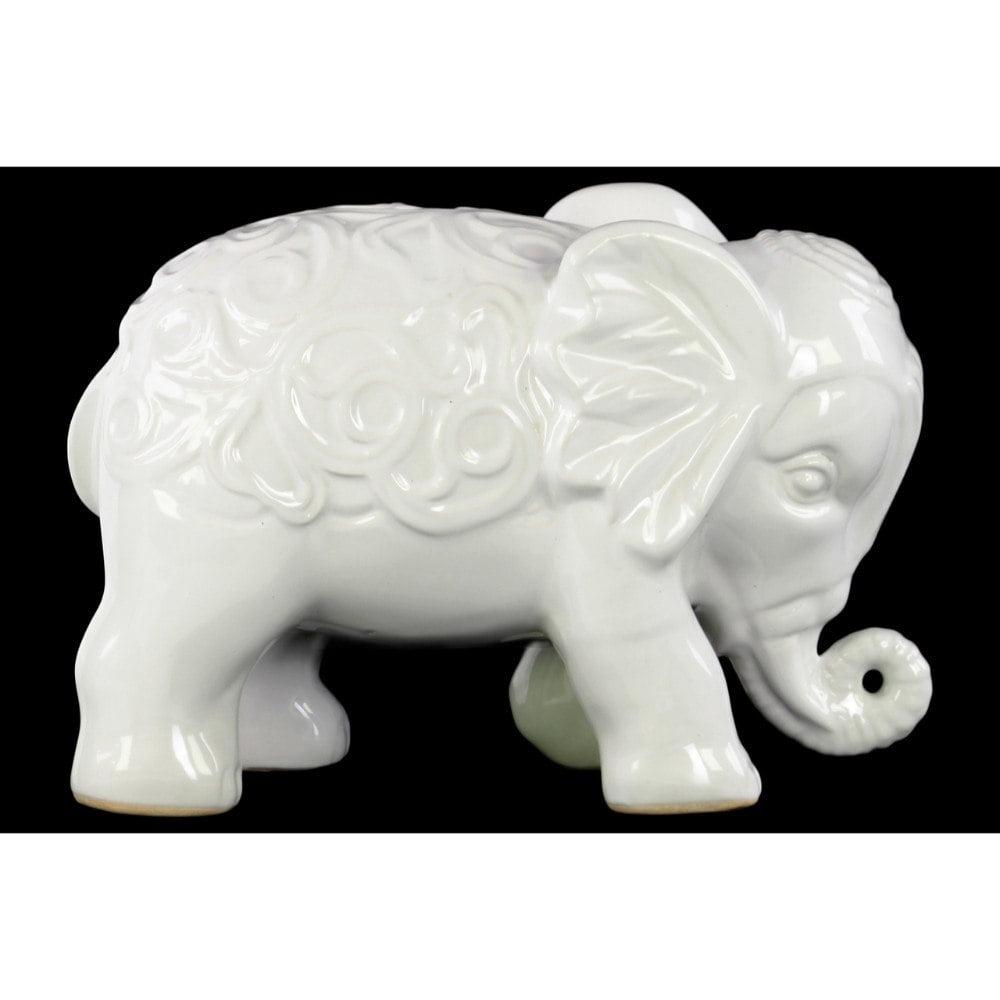 Standing Elephant Figurine With Embossed Swirl Design White Walmart Com Walmart Com