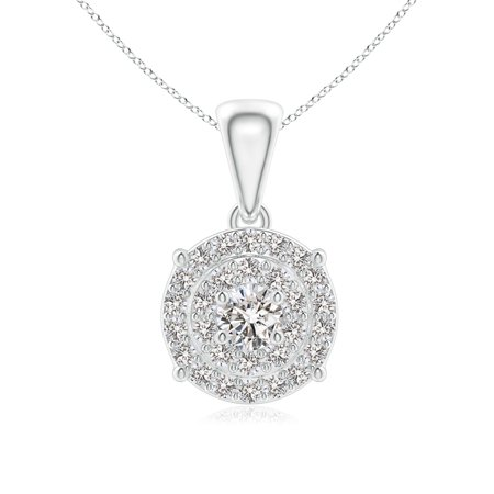 Valentine Jewelry gift - Dangling Diamond Cluster Pendant in 14K White Gold (2.8mm Diamond) - SP0794D-WG-IJI1I2-2.8