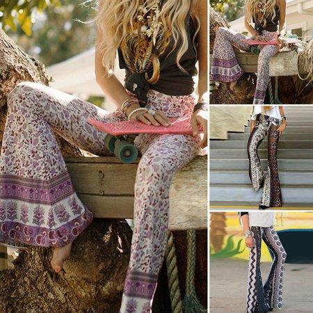 Women Boho Hippie High Waist Loose Wide Leg Flared Bell Bottom Flroal Long Pant - Plus Size Bell Bottoms