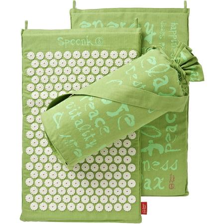 Spoonk Hemp Acupressure Massage Mat with Carrying Bag, Lilac Green Five Motor Massage Mat