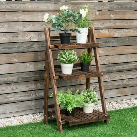 3 Tier Plant Stands - Costway 3 Tier Outdoor Wood Design Flower Pot Shelf Stand Folding Display Rack Garden