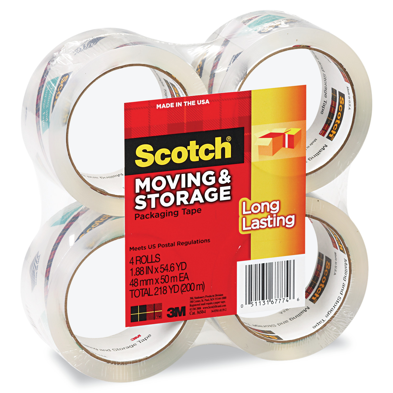Scotch Long Lasting Storage & Packaging Tape 4 Pack, 1.88 in. x 54.6 yd. per Roll, Clear, 4 Rolls/Pack