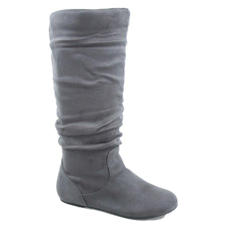 Data-1 Women's Fashion Slip On Pull Up Slouch Comfort Casual Flat Heel Mid Calf Round Toe Boots