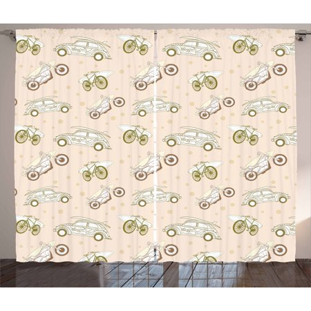 Surfboard Curtains 2 Panels Set Surfboards Transported On Vehicles Cars Bikes Motorcycles California Window