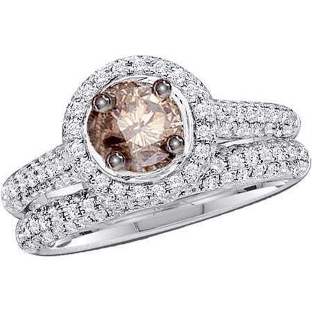 14K White Gold 1 23Ct Micro Pave Brown Diamond Bridal Set Ring W 0 40Ct Center