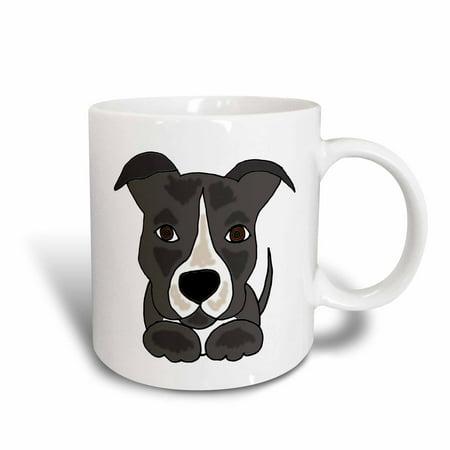 - 3dRose Funny Grey Pitbull Puppy Dog Cartoon, Ceramic Mug, 11-ounce