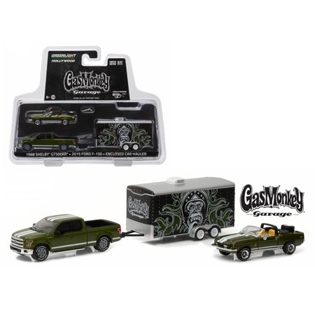 2015 Ford F-150 Green 1968 Shelby GT500KR Convertible Green w/ Enclosed Hauler Gas Monkey Garage 1/64 Diecast Greenlight