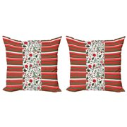 Christmas Throw Pillow Cushion Cover Pack of 2, Seasonal Traditional Colors Horizontal Stripes with Blossoming Flowers Border, Zippered Double-Side Digital Print, 4 Sizes, Multicolor, by Ambesonne