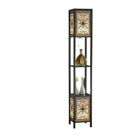 Artiva USA 64u0022 Infinity Heart Shelf Floor Lamp, Espresso
