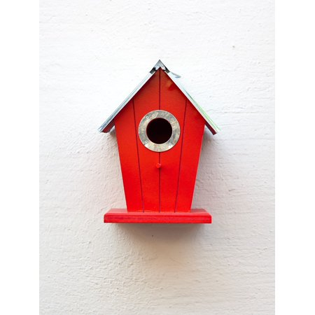 Canvas Print Aviary Bird Feeder Nesting Place Red Birds Stretched Canvas 10 x -
